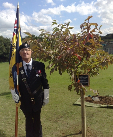 Tony Thorogate, Sheringham Royal British Legion Standard Bearer at Tree Planting ceremony 2008 for Jean Brackenbury and Tec McMullan at Muckleborough, Weybourne